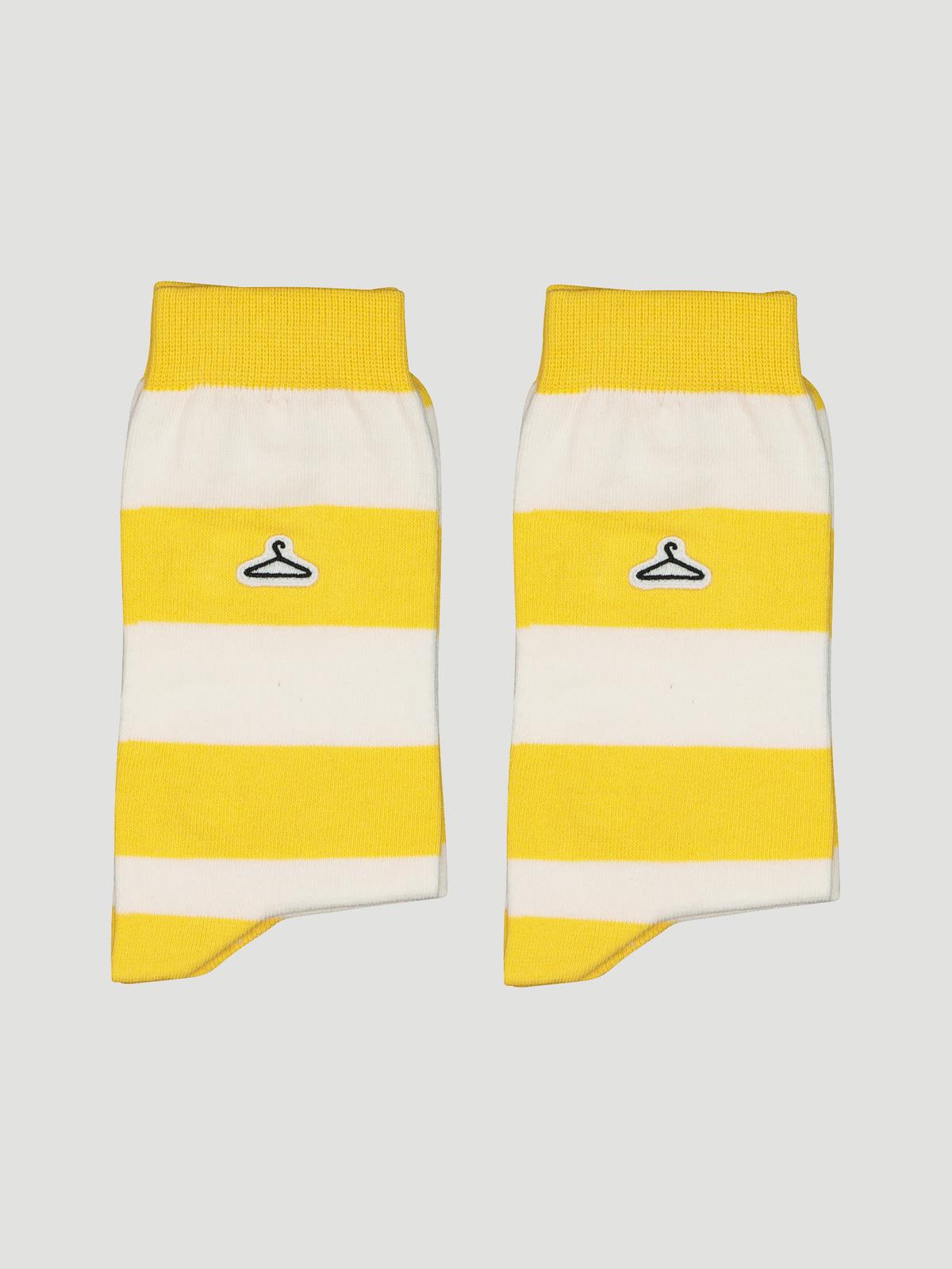 Hanger Striped Sock Yellow White 2