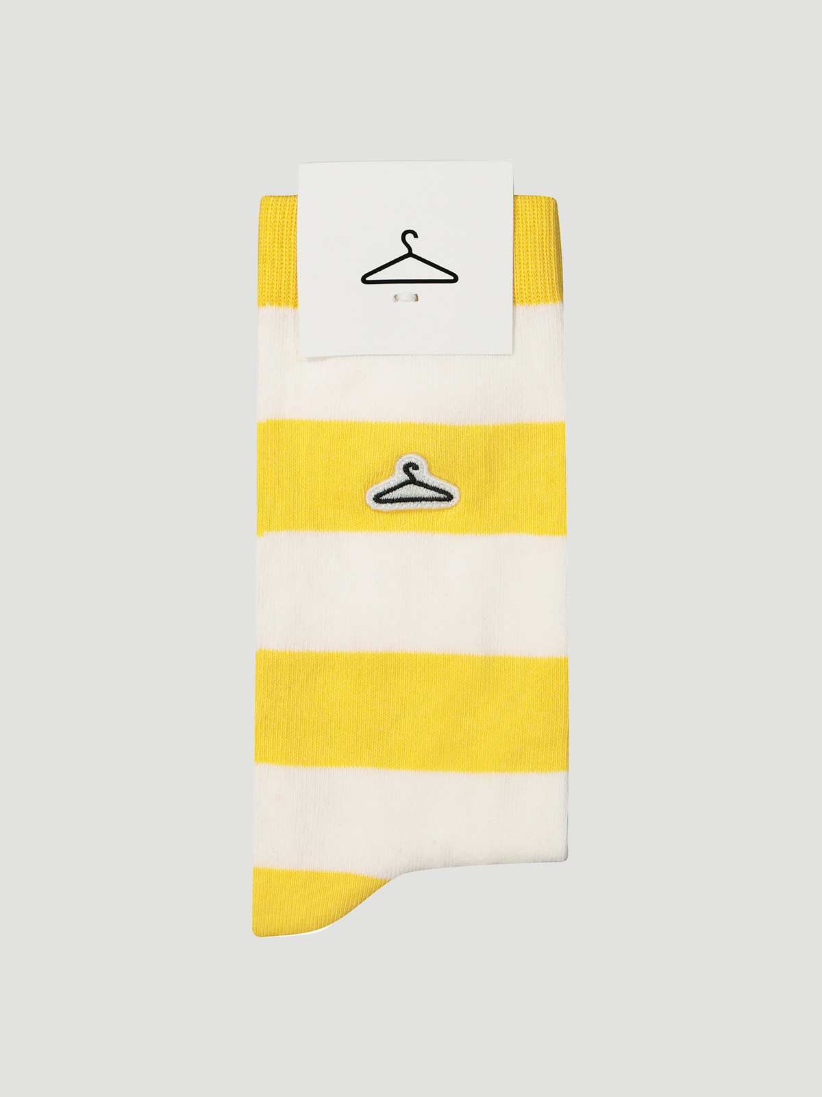 Hanger Striped Sock Yellow White 1