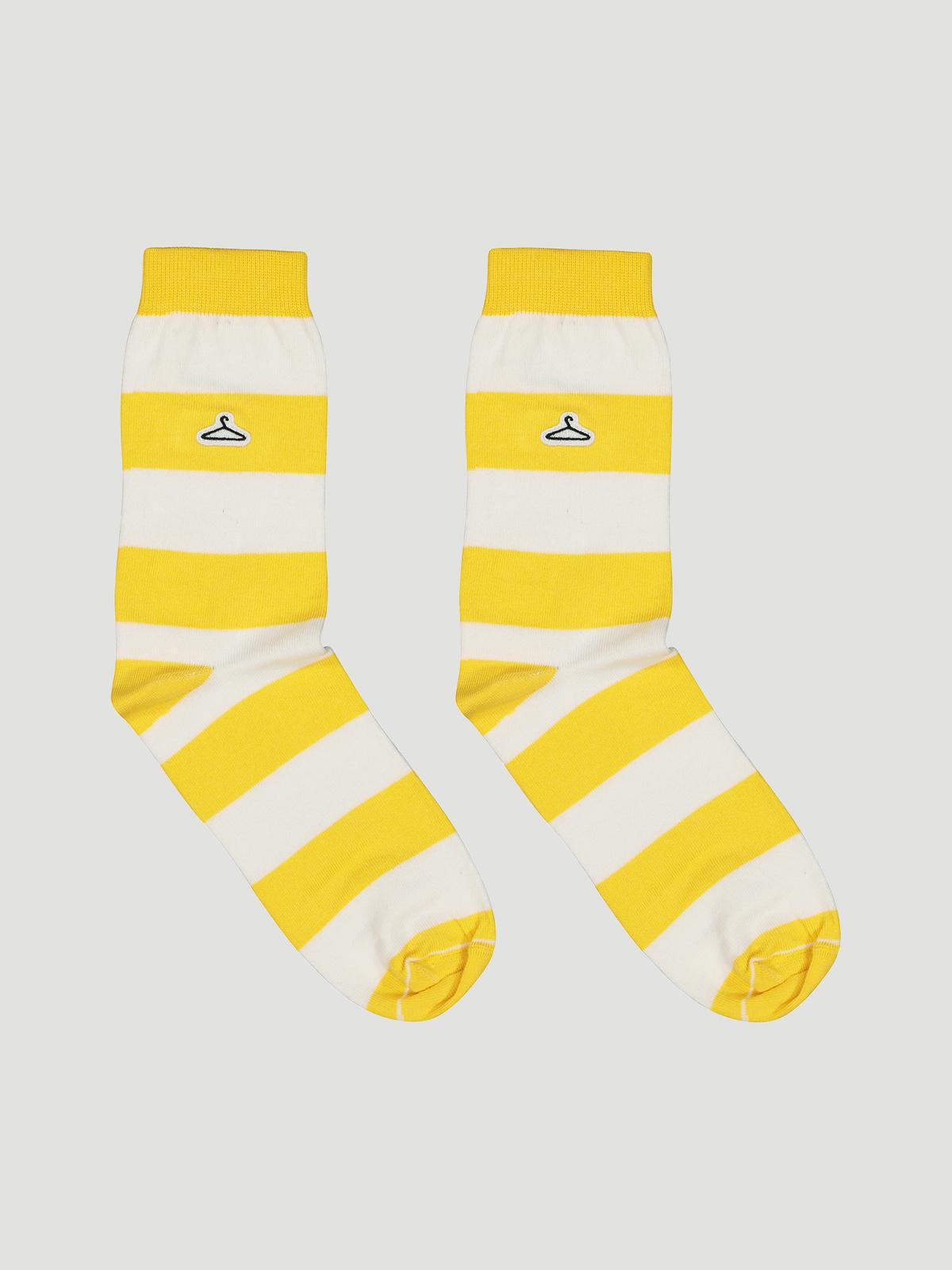 Hanger Striped Sock Yellow White 0