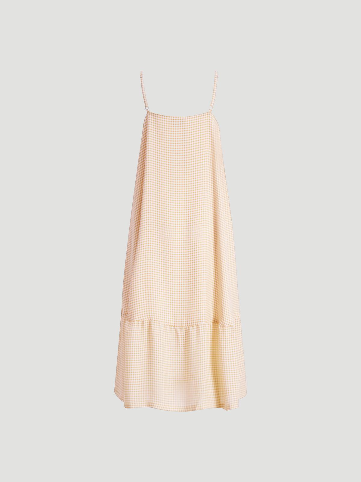 Svinten Check Dress  Lt. Camel Mix 6