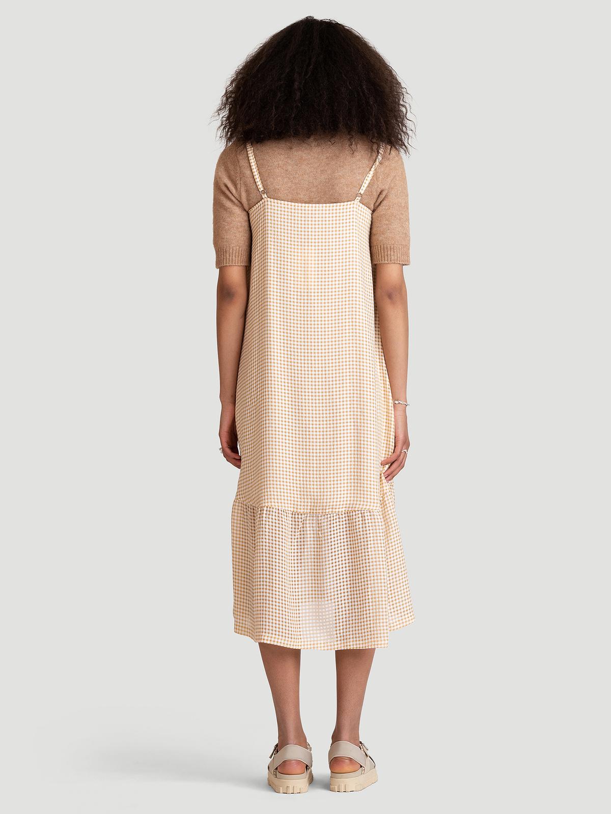 Svinten Check Dress  Lt. Camel Mix 4