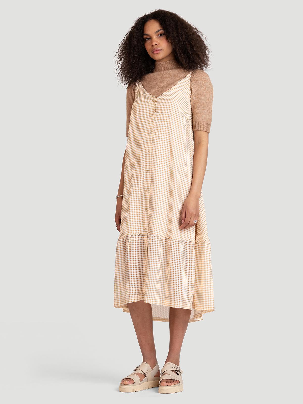 Svinten Check Dress  Lt. Camel Mix 0