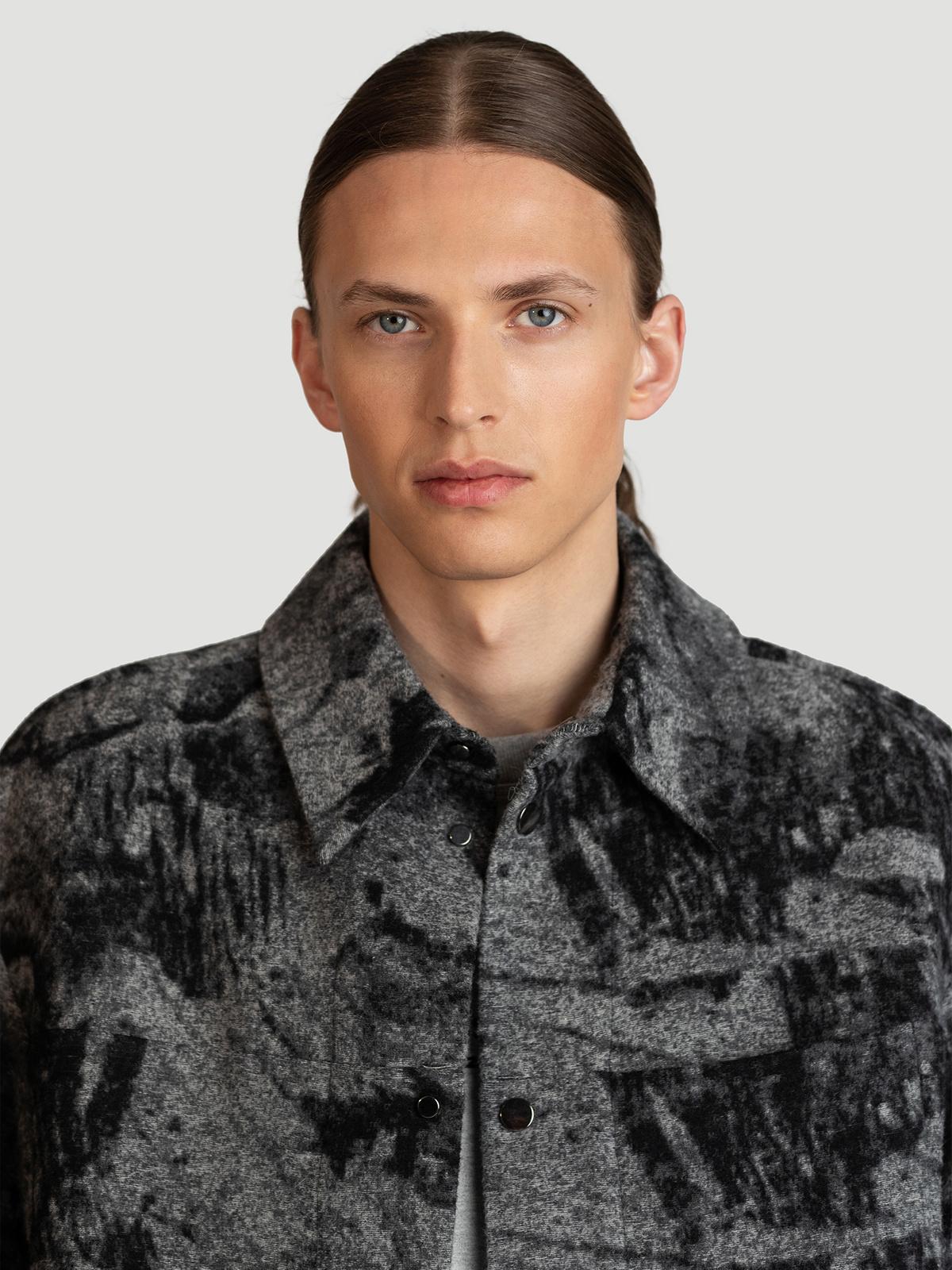 Mila Shirt Jacket  Grey Mix 1