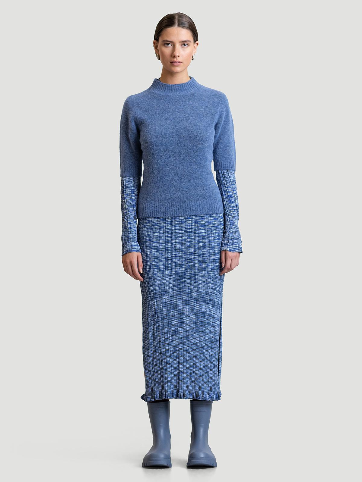 Puff Knit Tee  Blue 2